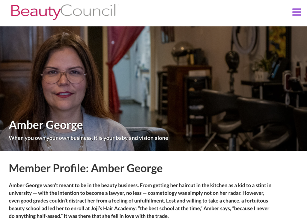 Member Profile: Amber George for BeautyCouncil